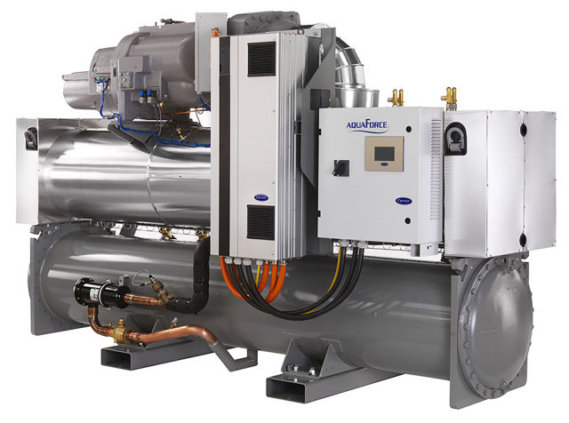 Carrier, Toshiba, heat pumps, river, water source, water-to-water, AquaForce