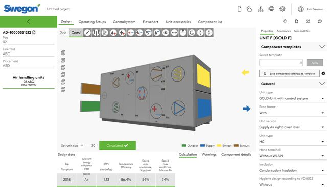 Swegon, AHU Design, AHU, selection tool, built-in modelling