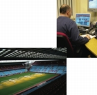 man on computer and Aston Villa